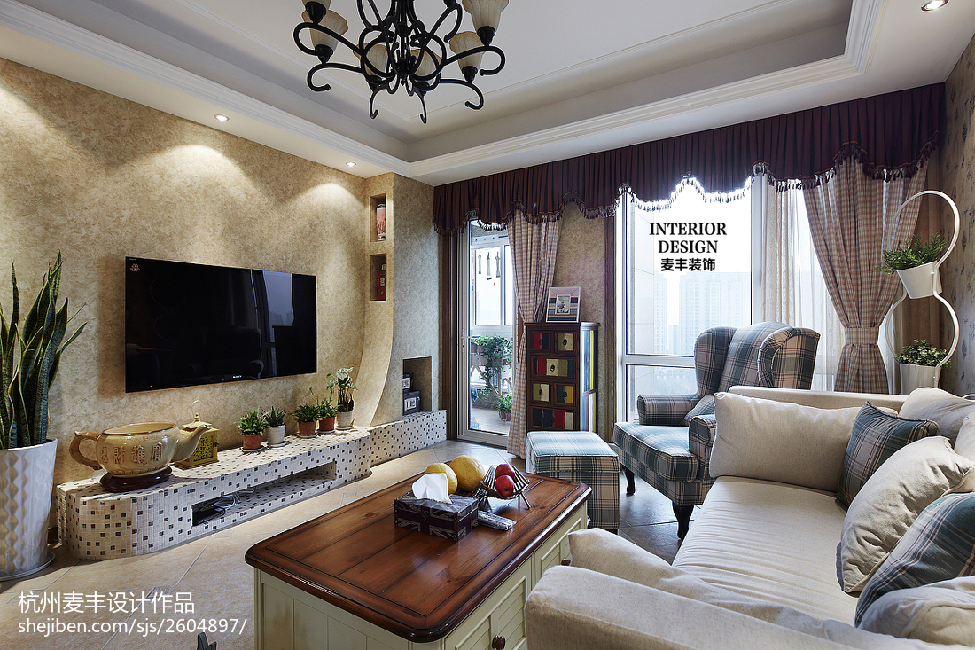 田园客厅电视墙设计效果图客厅美式田园客厅设计图片赏析