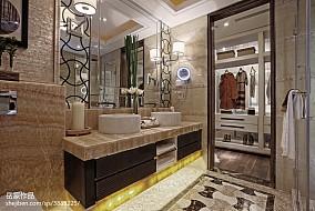 精选面积124平别墅卫生间中式装修效果图片欣赏