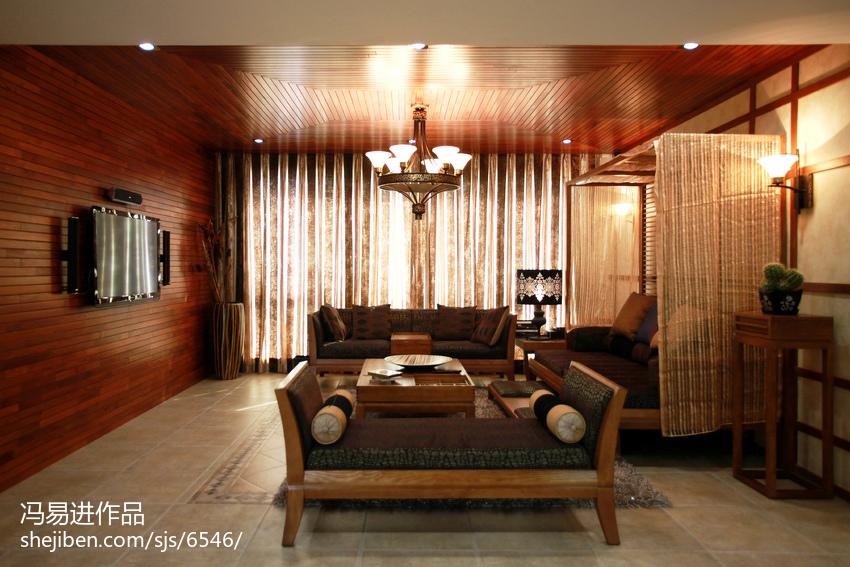 精美面积138平复式客厅东南亚装修图客厅潮流混搭客厅设计图片赏析