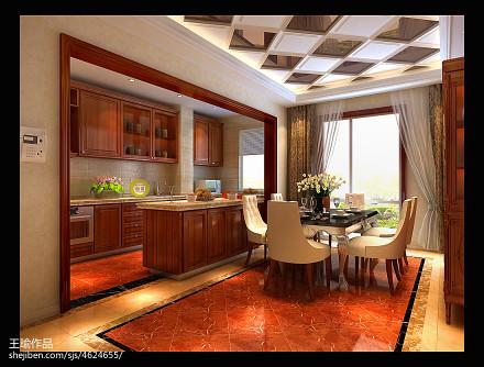 温馨103平欧式四居厨房装修图餐厅