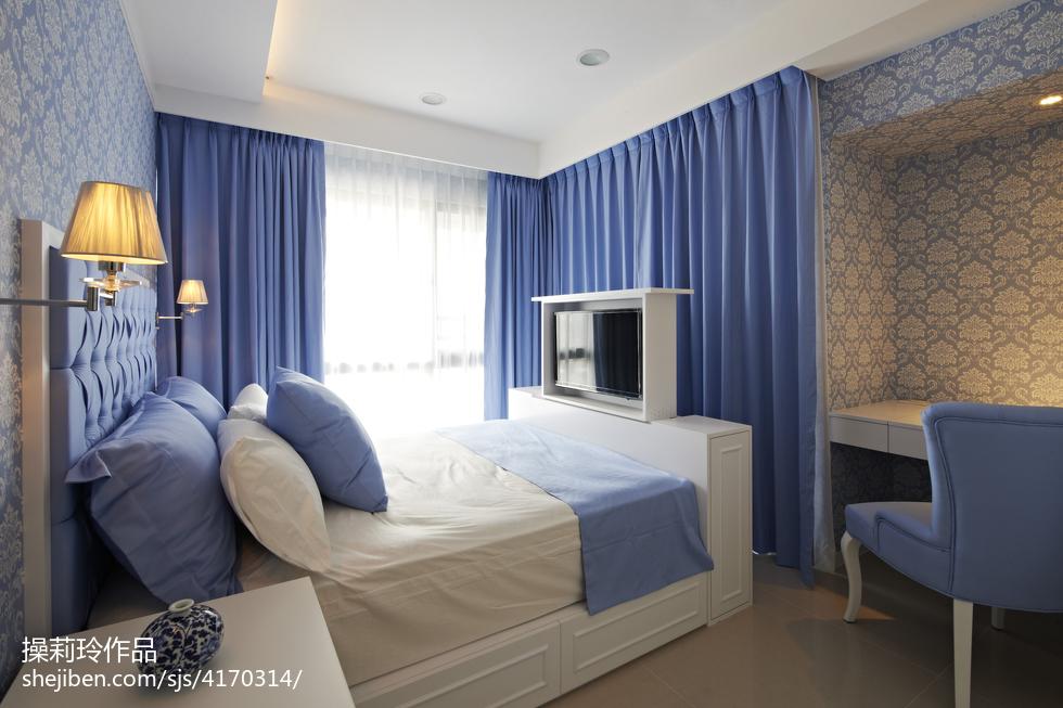 简约中式卧室窗帘装修设计卧室中式现代卧室设计图片赏析