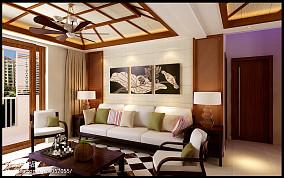 2018精选三居客厅东南亚装修设计效果图片