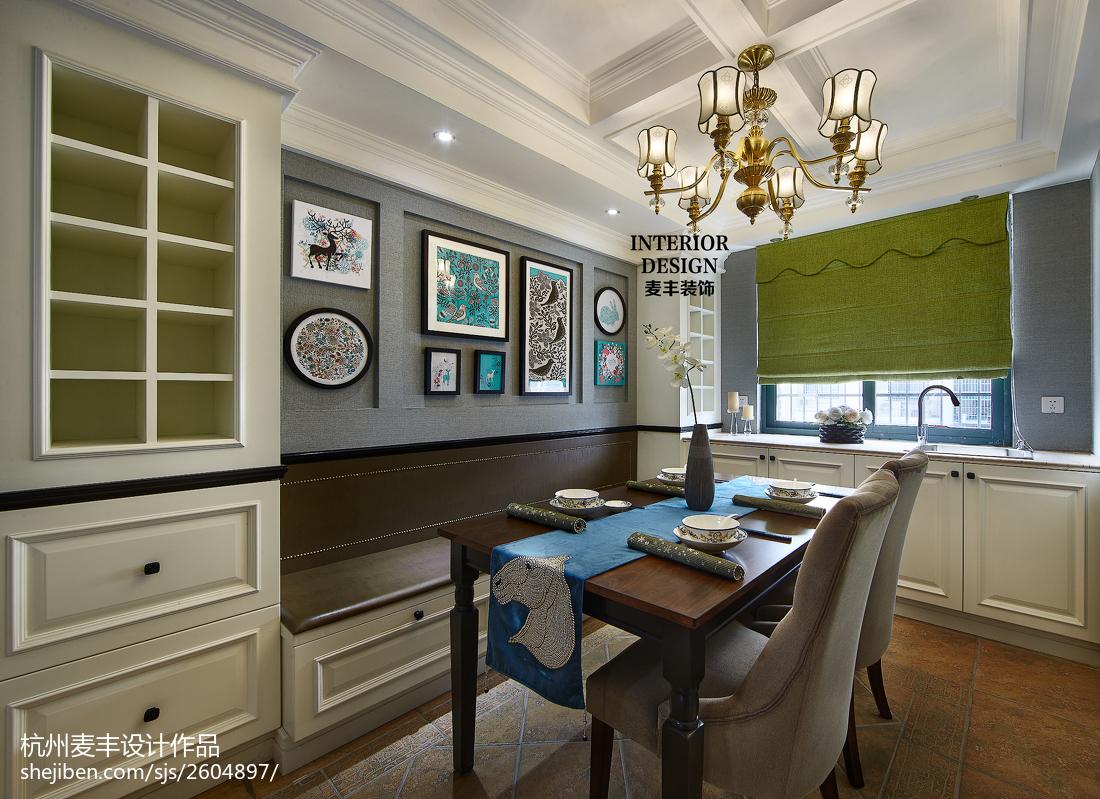 简约美式餐厅背景墙装修效果图厨房窗帘美式经典餐厅设计图片赏析