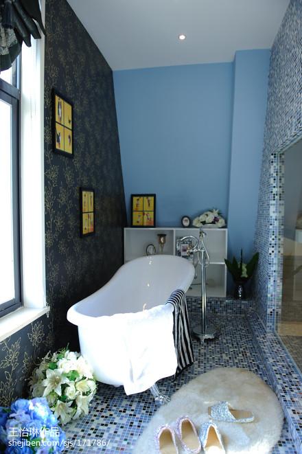 简洁347平田园样板间卫生间设计效果图卫生间2图