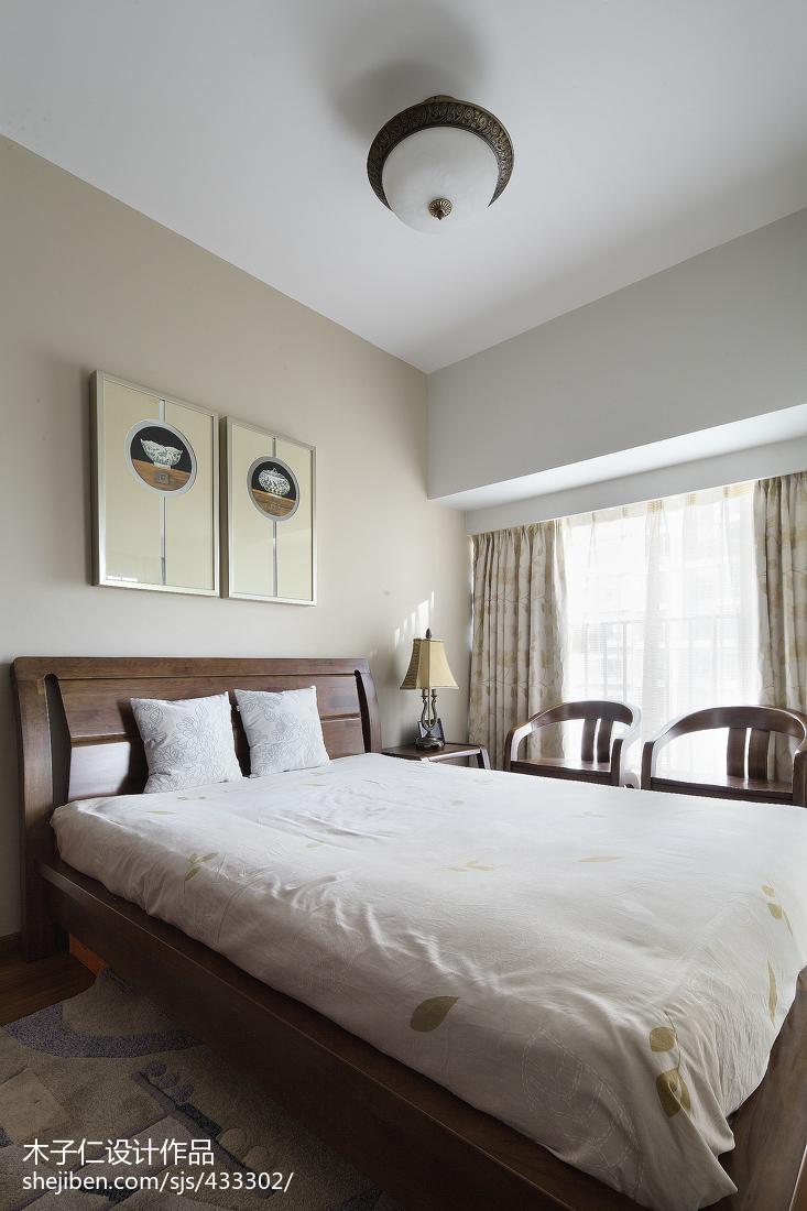热门中式卧室装修欣赏图片卧室窗帘6图中式现代卧室设计图片赏析