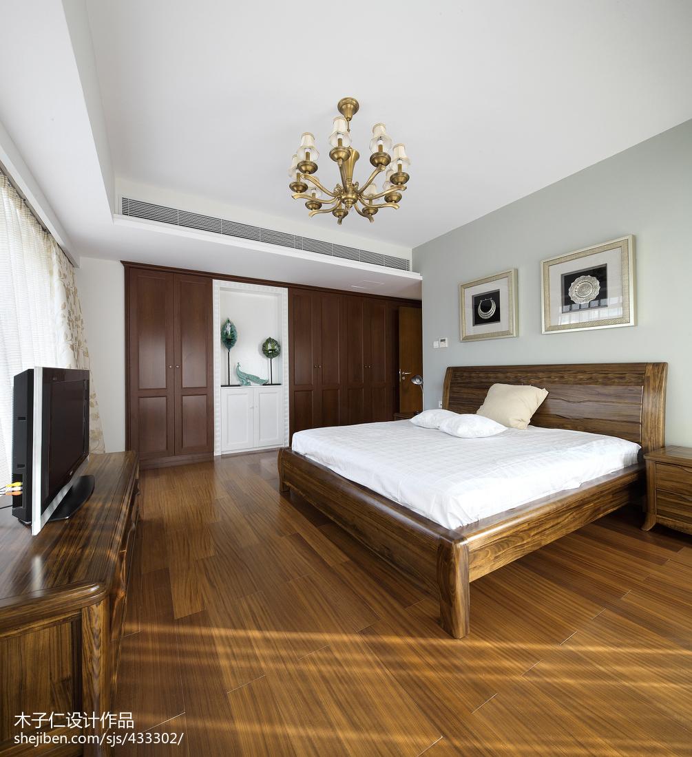 2018精选中式卧室装修效果图片大全卧室木地板4图中式现代卧室设计图片赏析