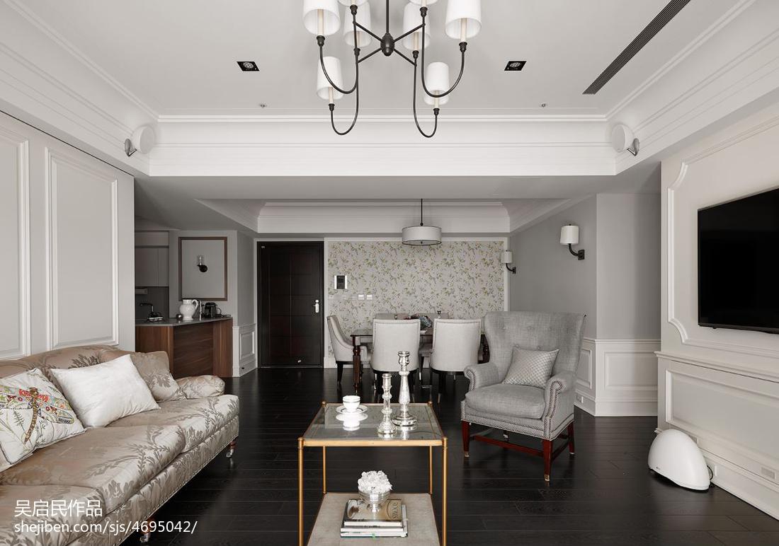 美式客厅金属玻璃茶几效果图