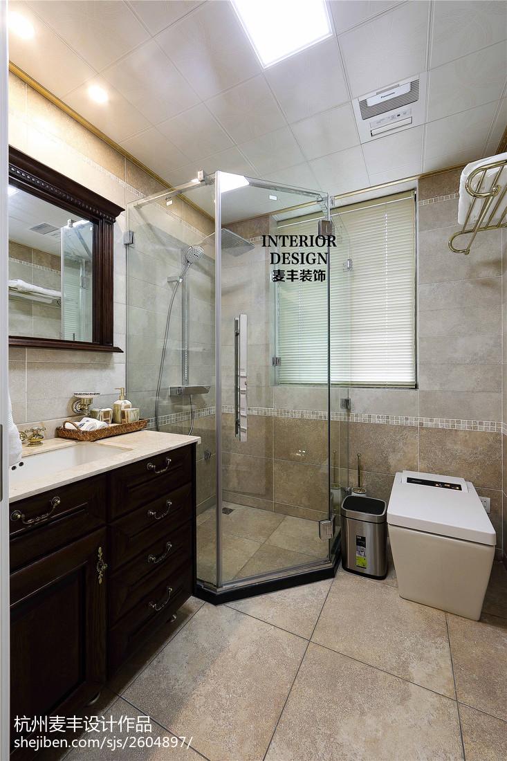 简约美式卫生间淋浴房效果图卫生间美式经典卫生间设计图片赏析