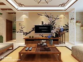 精选91平米三居客厅中式装修效果图片大全三居中式现代家装装修案例效果图