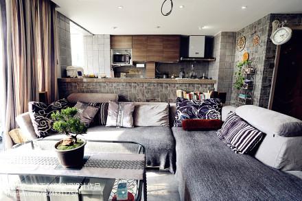 小户型现代客厅装修设计一居现代简约家装装修案例效果图