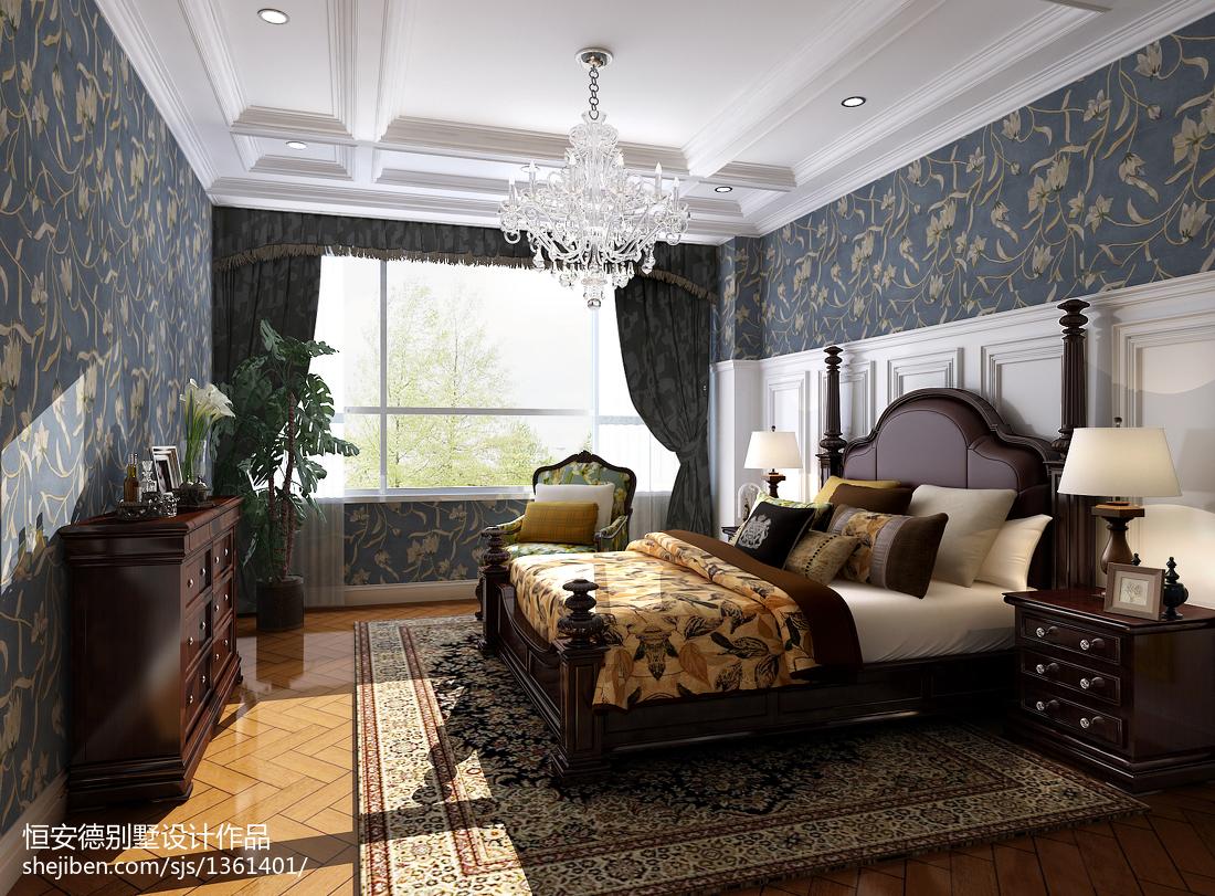 精选面积132平别墅卧室欧式装修设计效果图卧室