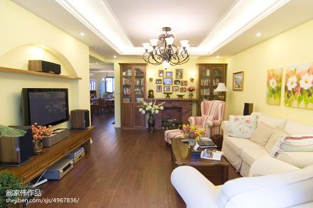 温馨123平美式三居客厅效果图片大全