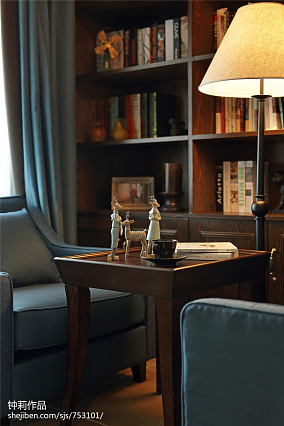 精美面积91平美式三居书房装修效果图片欣赏