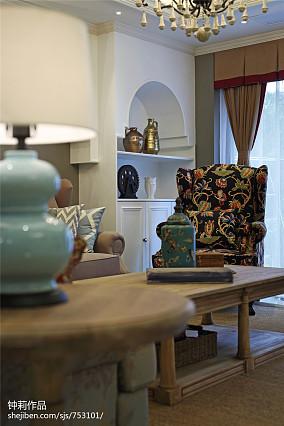 热门面积112平美式四居客厅装修设计效果图片欣赏