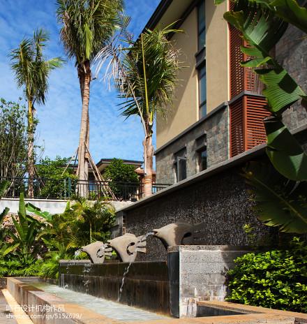 面积132平别墅花园中式装饰图片