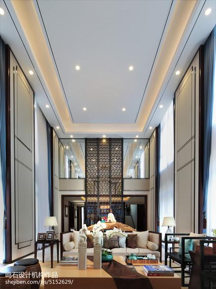 热门面积142平别墅客厅中式装修设计效果图片