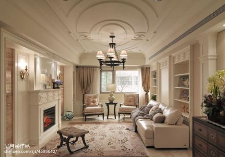 201899平方三居客厅美式实景图三居美式经典家装装修案例效果图