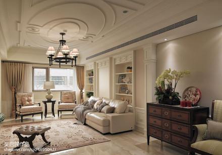精选97平方三居客厅美式实景图