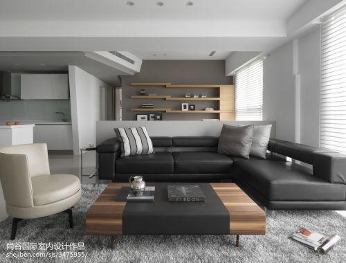 精选面积95平现代三居客厅装修效果图客厅沙发201-500m²三居现代简约家装装修案例效果图
