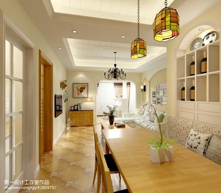 2018精选大小104平美式三居餐厅装修实景图101-120m²三居美式经典家装装修案例效果图