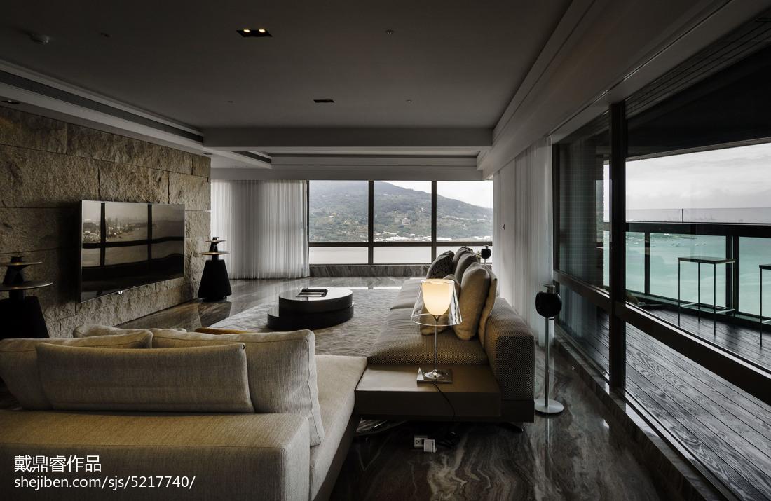 三居室混搭客厅落地窗设计效果图