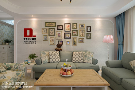 悠雅107平田园三居客厅设计图三居美式田园家装装修案例效果图