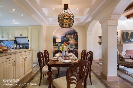 精选140平米美式别墅餐厅装饰图片