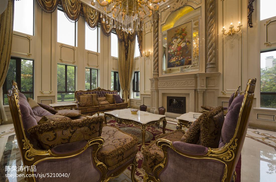 别墅欧式风格壁炉装修客厅欧式豪华客厅设计图片赏析