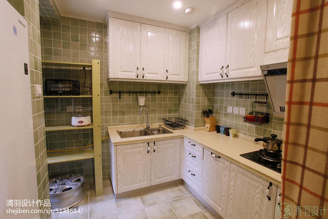 典雅87平美式三居厨房装修装饰图餐厅美式经典厨房设计图片赏析