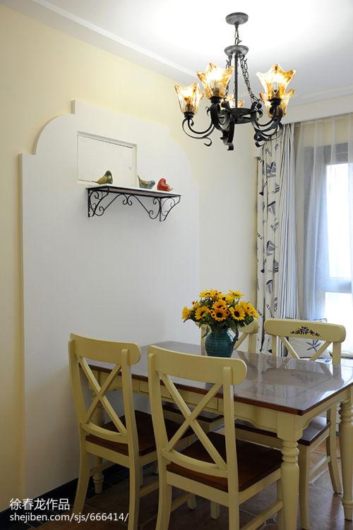 精美99平米三居餐厅地中海装饰图片厨房窗帘1图