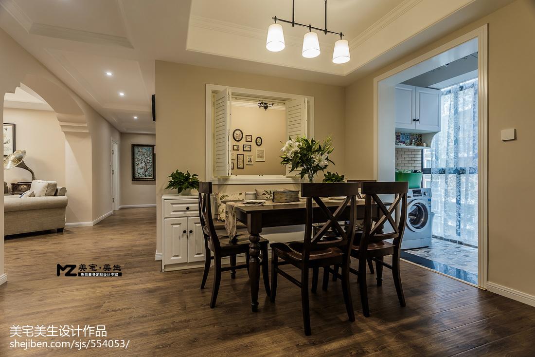 105平米三居餐厅美式实景图片大全厨房美式经典餐厅设计图片赏析