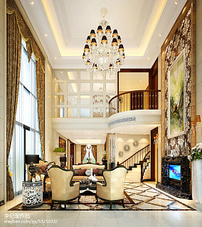 热门136平方欧式别墅客厅装修图片151-200m²别墅豪宅欧式豪华家装装修案例效果图