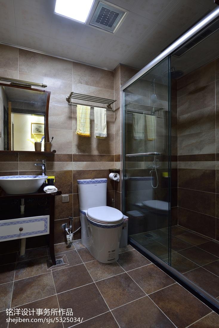 现代中式卫生间吊顶装修效果图卫生间中式现代卫生间设计图片赏析