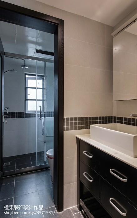 热门91平米三居卫生间现代装饰图片大全卫生间