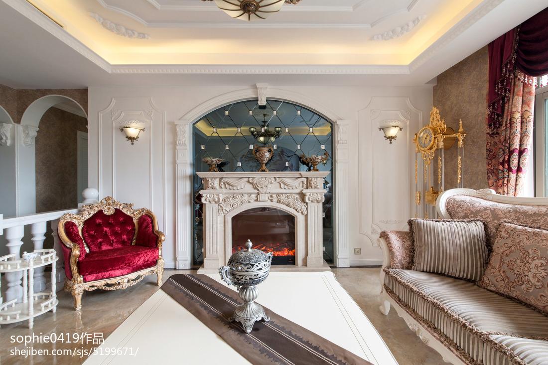 简欧壁炉效果图客厅欧式豪华客厅设计图片赏析