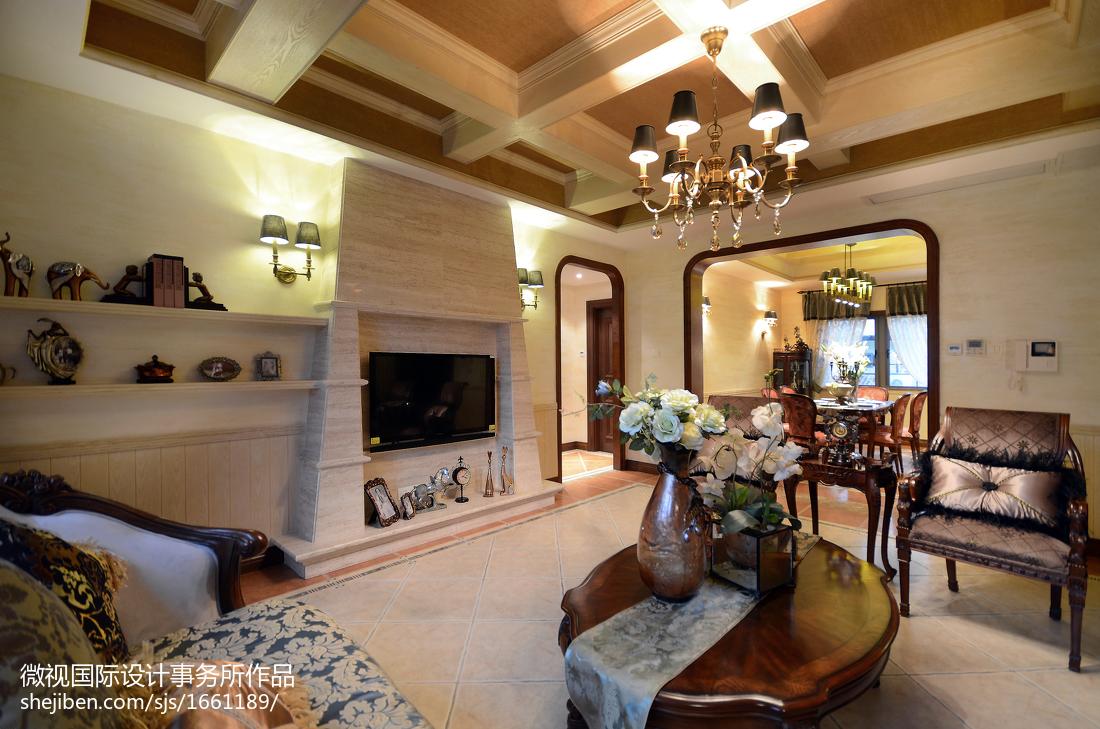 别墅美式壁炉装修效果图欣赏客厅美式经典客厅设计图片赏析