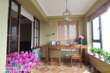 热门美式三居阳台装修实景图片欣赏三居美式经典家装装修案例效果图