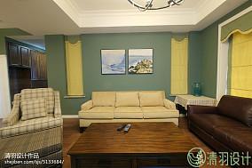 2018精选面积90平美式三居客厅装修效果图片151-200m²三居美式经典家装装修案例效果图