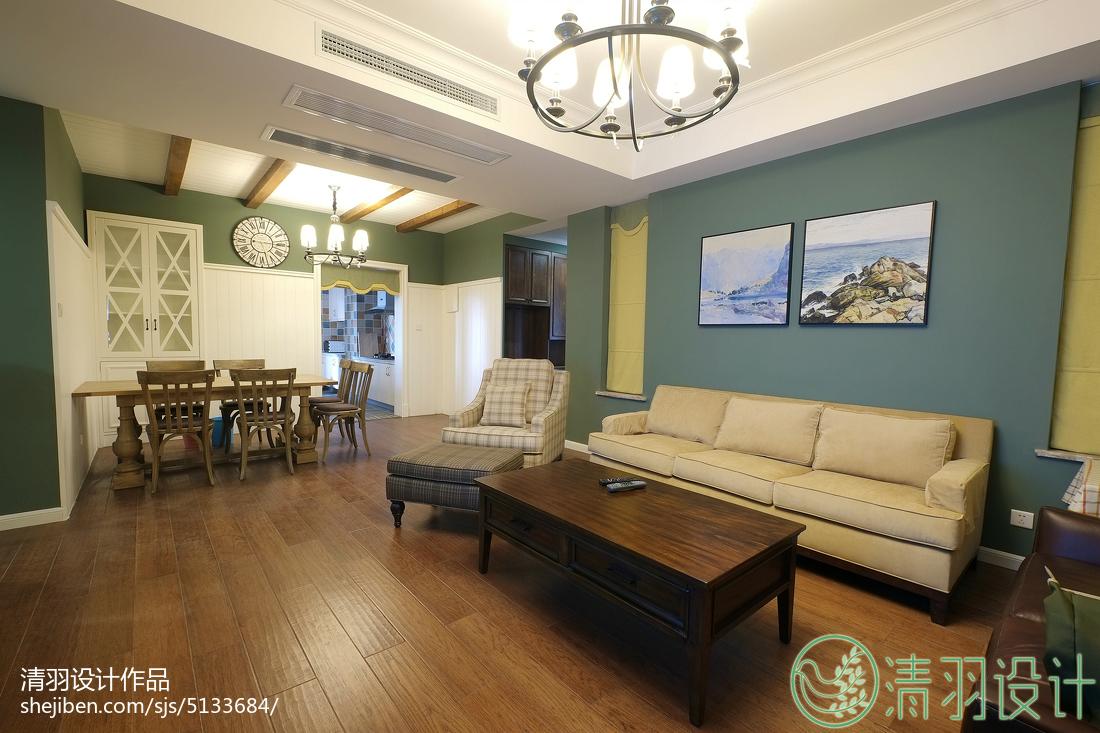 平美式三居客厅装潢图151-200m²三居美式经典家装装修案例效果图