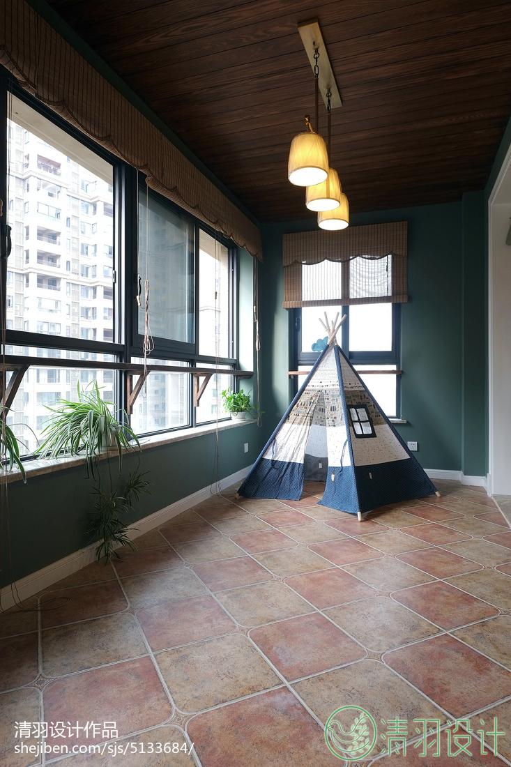 浪漫105平美式三居阳台设计图阳台美式经典阳台设计图片赏析
