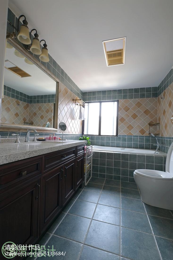 典雅156平美式四居效果图片大全卫生间美式经典卫生间设计图片赏析