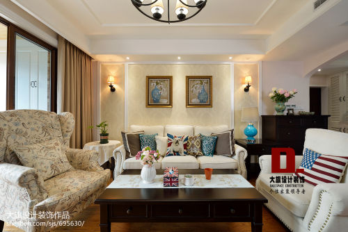 精选119平米四居客厅美式实景图片客厅电视柜四居及以上美式经典家装装修案例效果图