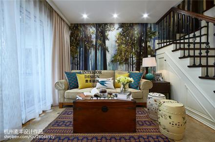 混搭美式客厅沙发背景墙设计客厅
