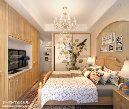 简洁96平美式三居卧室图片大全