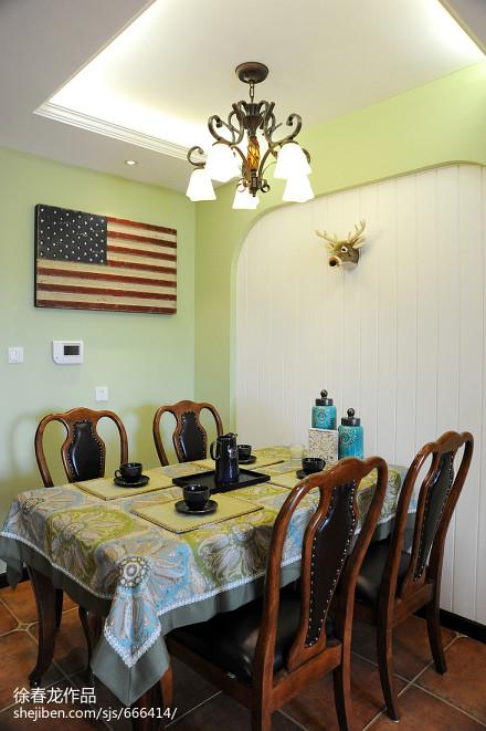 精美面积78平美式二居餐厅效果图片