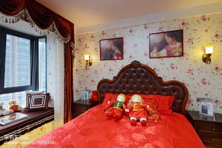 大气78平美式二居卧室装修设计图卧室2图