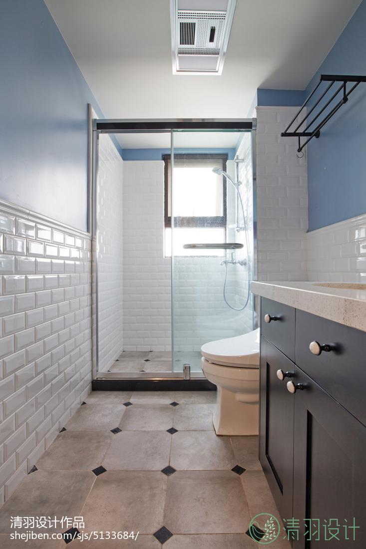 华丽113平混搭四居案例图卫生间马桶潮流混搭卫生间设计图片赏析