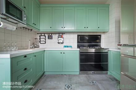 平米四居厨房混搭装修设计效果图片欣赏餐厅