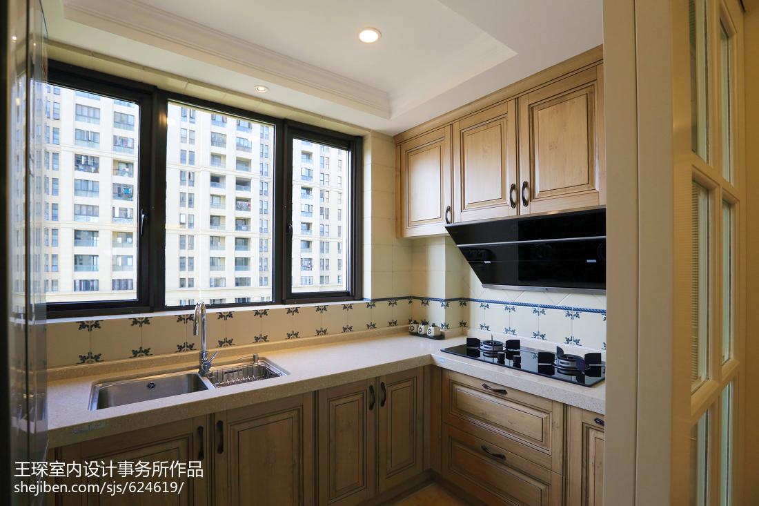 质朴87平美式三居设计效果图餐厅美式经典厨房设计图片赏析
