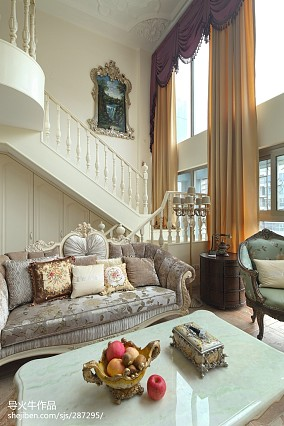 热门面积123平别墅客厅新古典装修效果图片